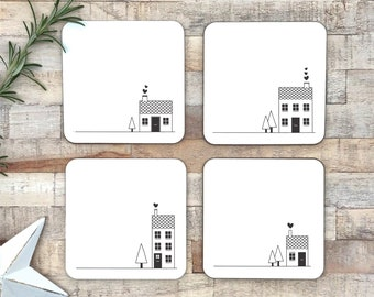 Set of 4 black and white coasters   gift for couples   house warming present   new home gift   scandi style   cute houses   wedding gift