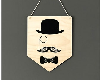 Monocle gentleman flag pennant | wall hanging |  wall art | Father's Day gift | Birthday gift | gift for him | gift ideas for men | Scandi