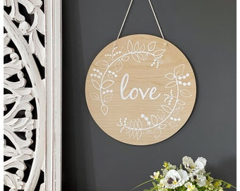 round wood wall hanging | home decor | wall art | home ware gift | valentines gift | new home gift | Mother's Day gift | gift ideas for her