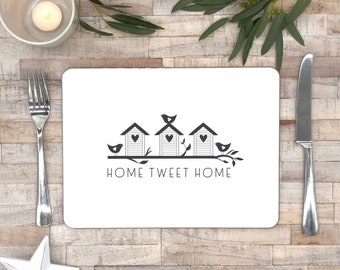 Black and white place mat   Home Tweet Home   monochrome tableware   house warming  gift   kitchen decor   new home gift   wood table mats