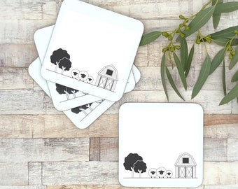 Set of 4 black and white coasters | scandi style home decor |  monochrome table ware | new home gift | gift for couples | kitchen decor