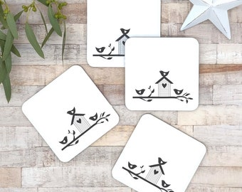 Set of 4 black and white coasters | home tweet home | gift for couples | new home gift | house warming gift | monochrome kitchen ware