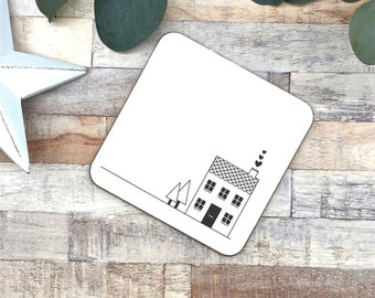 Black and white coaster | house coaster | house warming gift | new home gift | kitchen ware | table ware | gift for her | wood coaster