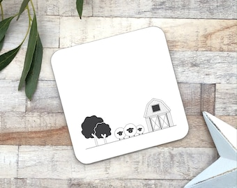 Black and white coaster | Scandi style decor | monochrome coaster |  home ware gift | gift for her | new home gift | wood coaster |