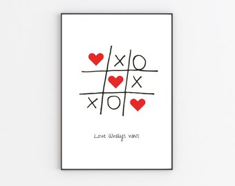 Love always wins print   poster print   black and white print   valentines gift   gift for couples   home decor   wall art print    A4 print