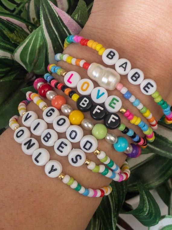 Personalized Sorority. Customized NameWord Beaded Bracelets Monogram Friendship Bracelet Custom