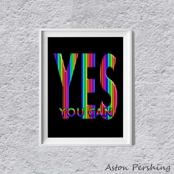 yes you can quote rainbow d text quote printable wall art