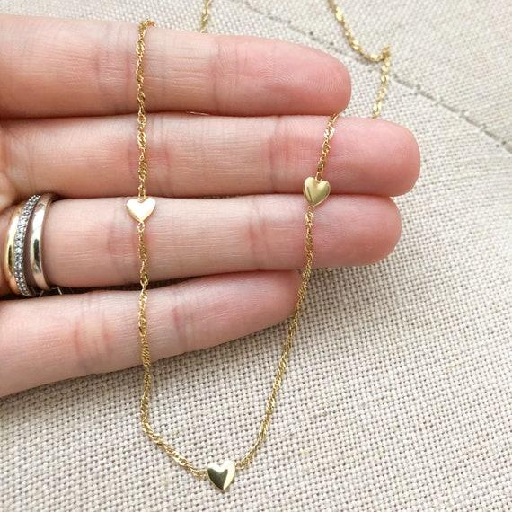 Gold Heart Chain, 14k Gold, Hearts chain, Gold hea