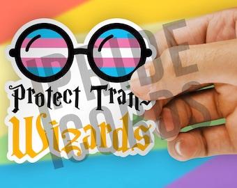 Protect Trans Wizards LGBT Vinyl Sticker - Transgender LGBTQ Water Bottle Laptop Decal