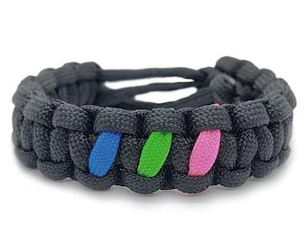 Polysexual Pride Flag Adjustable Paracord Bracelet LGBT