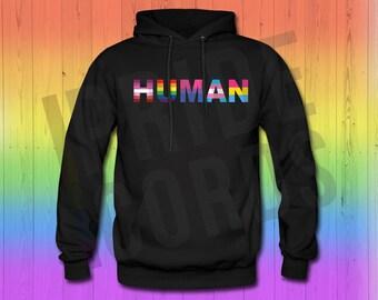 HUMAN Pride Flags - LGBT Rainbow Gay Bi Lesbian Trans Pan Unisex Hoodie
