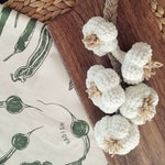 Crochet garlic, crochet food for kids, crochet decoration for kitchen, play food