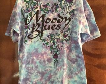 87f10adfddd0 Vintage 1990 Moody Blues Liquid Blue Tie Dye Tee Shirt