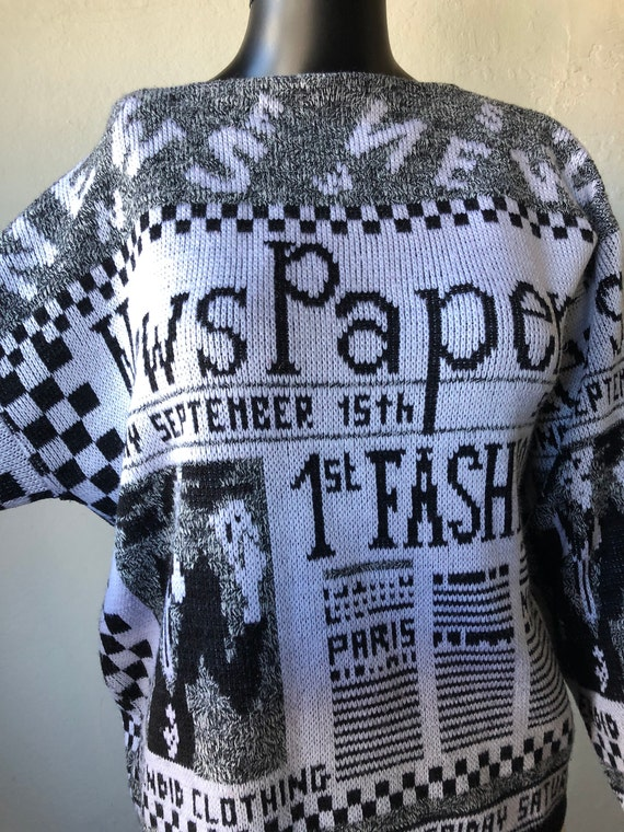 Newspaper Vintage 1980s Black and White Sweater