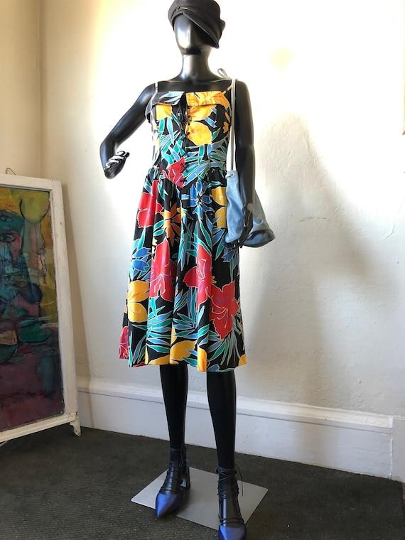 Birds of Paradise multicolored 1980s halter corset