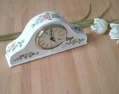 Vintage Aynsley Cottage Garden Clock, Aynsley Mantle Clock, Cottage Garden Napoleon Clock, Fine Bone China Clock, Flowers and Butterflies