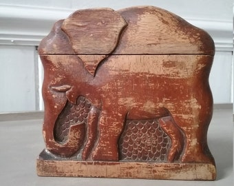 Fair Trade Hand Carved Made Wooden Thai Elephant Bum Statue Ornament Sculpture