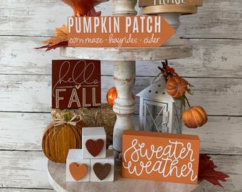 Fall tiered tray decor bundle, pumpkin tiered tray, fall tiered tray signs, fall home decor, pumpkin patch, sweater weather, pumpkin decor