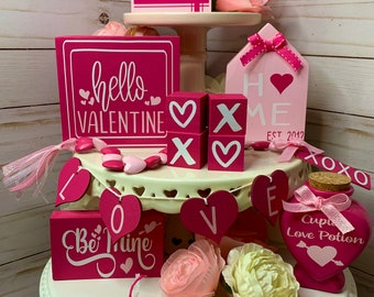 Valentines Day Tiered Tray Decor | Tiered Tray Bundle | Pink & White | Mini Sign set | Home Decor | XOXO  | Bead Garland | Mini Rolling Pin
