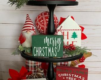 Christmas Tiered Tray Decor   Farmhouse Tiered Tray   Holiday Tiered Tray   Mini Sign   Merry Christmas   Classic Christmas   Home Decor