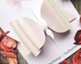 When Feathers Appear - White Pearlescent Charm Bow - Feather Bow - Baby Hairbands - Newborn Headbands - Girls Bow Clips - Easter - Summer