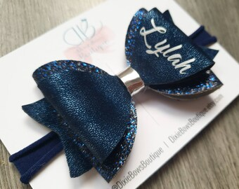 Navy Blue Personalised Hair Bow - Blue Glitter Bows - Girls Name Bows - Baby Headbands - Glitter Hair Clips - Christmas Party Accessories