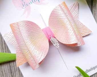 When Feathers Appear Bow - Pink Feather Bow - Pastel Pearlescent Charm Hairband - Rainbow Leatherette Headband - Newborn Headbands - Spring