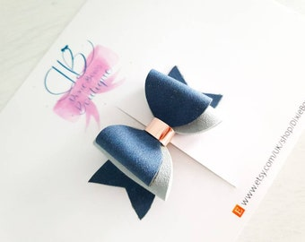 Navy suede hair bow, Blue baby hair bows, Faux suede bows, Newborn headbands, Girls glitter hairbands, School bows, Soft baby hair bows