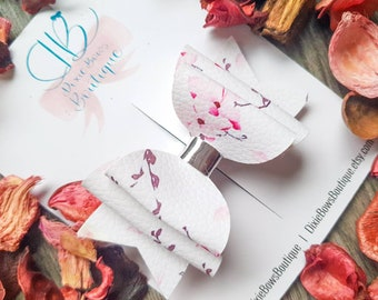 Spring Blooms Cherry Blossom Bow - Floral Hair Bow - Flower Hairbands - Newborn Headbands - Baby Bows - 1st Birthday - Pink Bow Clips
