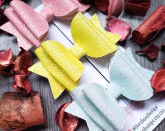 Pastel Glitter Bows - Yellow Shimmer Bows - Shimmery Pink Bow - Turquoise Blue Glitter Bow - Hair Clips - Headbands - Baby Hairbands