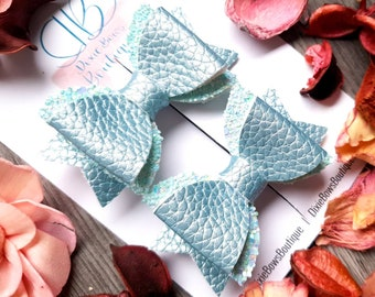 Cinderella Blue Glitter Bow - Blue Hair Bows - Turquoise Baby Hair Bows - Sparkly Headbands - Girls Glitter Bows - Party Bows