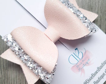 Pink Fizz - Pink & Silver Glitter Bow - Baby Hair Bows - Bridesmaid Hair Accessories - Flower Girl Bow - Newborn Headbands - Baby Hairbands