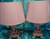 Stunning Pair of Dresden Porcelain Accent Lamps