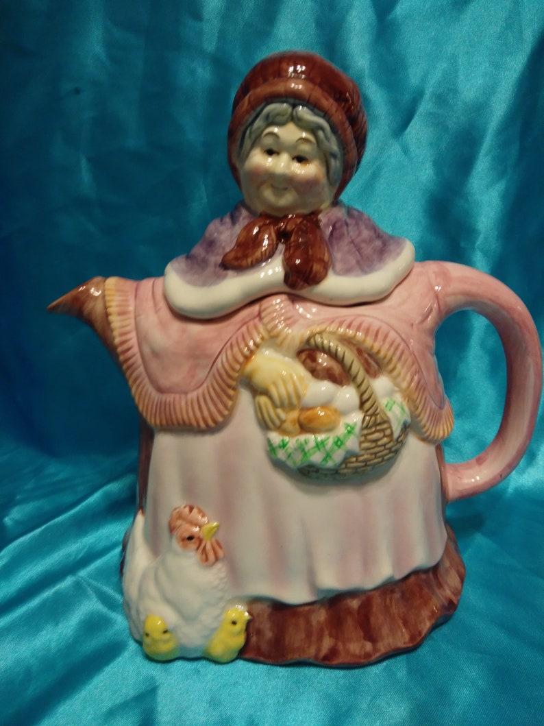 Vintage Takahashi San Francisco Ceramic Teapot Woman Gathering Eggs WChickens At Her Feet