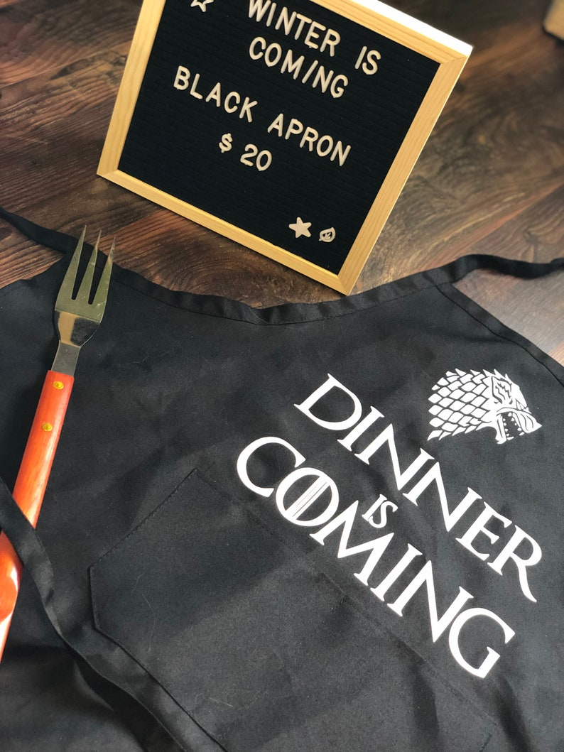 Game of Thrones inspired Dinner is coming black tie back apron with 2 front pockets