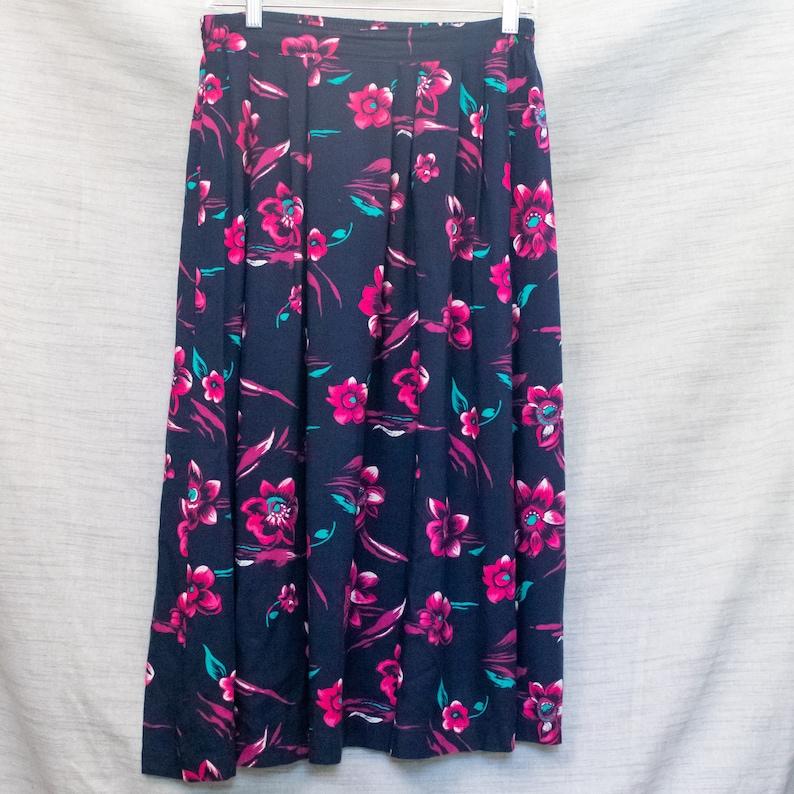 Vintage Pink and Navy Floral Midi Skirt