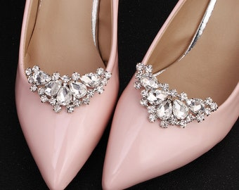 2Pcs Rhinestone Shoes Buckles Elegant Shoe Clips Silver Shoe Diy Accessory JD