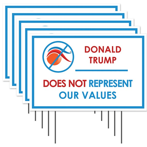 Donald Trump Does Not Represent My Values 5 Pack Removable Anti Trump Bumper Sticker
