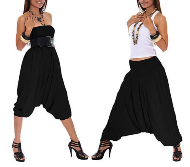 Harem Pants Boho Trousers Alibaba Gypsy Hippie Aladdin Baggy Genie Men Women Hmong