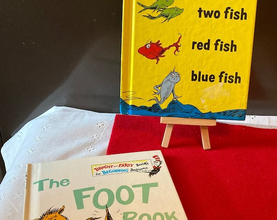 Classic Dr Suess Books - The Foot Book and One Fish Two Fish Red Fish Blue Fish - Vintage