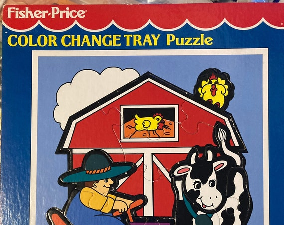 Fisher Price 1994 Color Change Tray Puzzle - 15 Piece Fisher Price Vintage Farm Puzzle