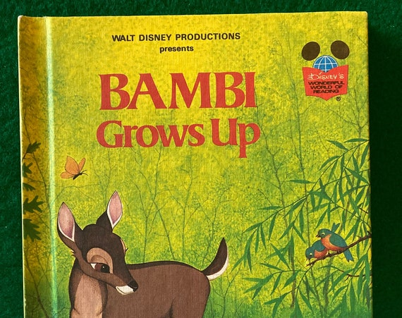 Bambi Book, Bambi Grows Up, Disney's Wonderful World of Reading, vintage 1979 hardcover book - FREE SHIPPING