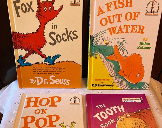 Four Classic Hardcover Dr Suess Books - A Fish out of Water; The Tooth Book; Hop on Pop and Fox in Socks