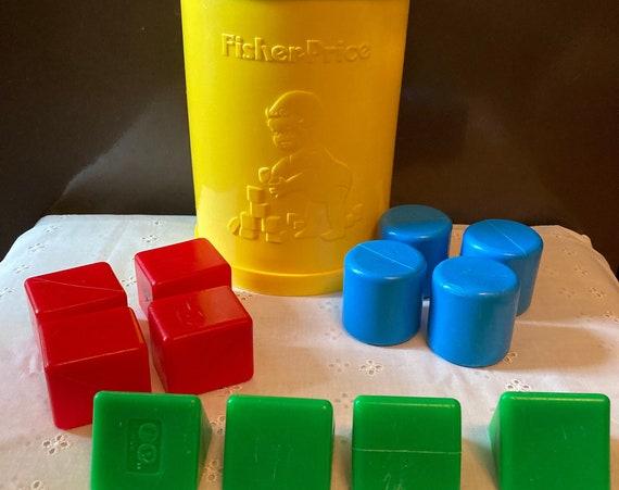 Vintage Fisher Price Shape Sorter - Toddler Toy - Babies First Yellow Block Set