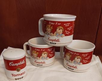 Vintage 1998 Campbell's Soup Mugs/ Vintage Campbell's Pepper Shaker