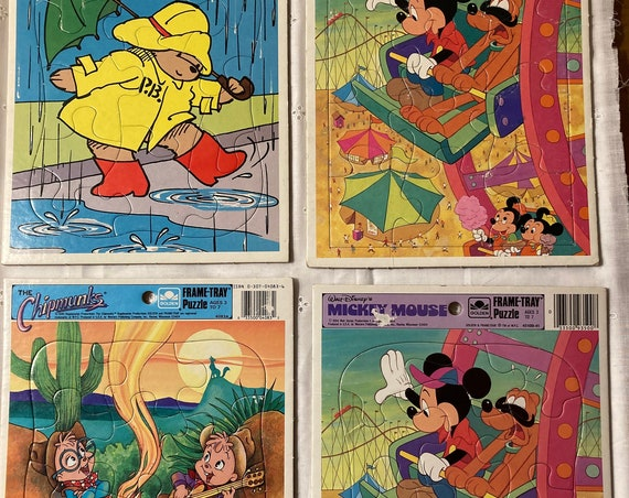 Four Whimsical Frame-Tray Puzzles Including Two Disney Mickey Mouse (1984); The Chipmunks (1990) and Paddington Bear (1989)