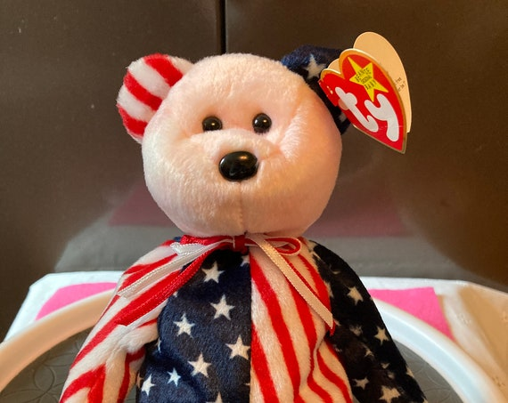 """TY Beanie Baby """"Spangle""""  Pink Face - Independence TY Beanie Baby Bear Spangle"""