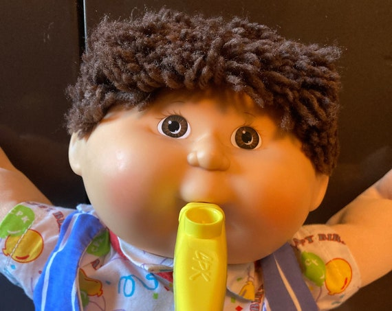 1990 Hasbro Cabbage Patch Birthday Kids Doll - Brown Hair/Eyes with Yellow Whistle