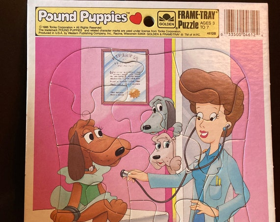 Pound Puppies 1986 TONKA Golden Frame Tray Puzzle Cooler Nose Marie Vintage Rare - Vintage 1980's Frame Tray Puzzle 11 Piece Pound Puppies