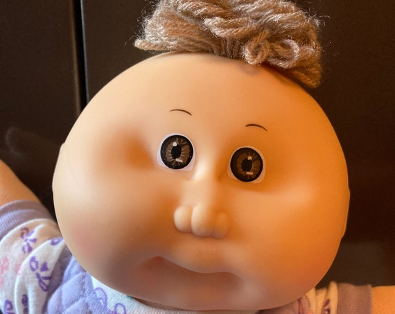 """Rare 1986 - 12"""" Cabbage Patch Preemie Girl with Cute Tuff of Brown Hair"""